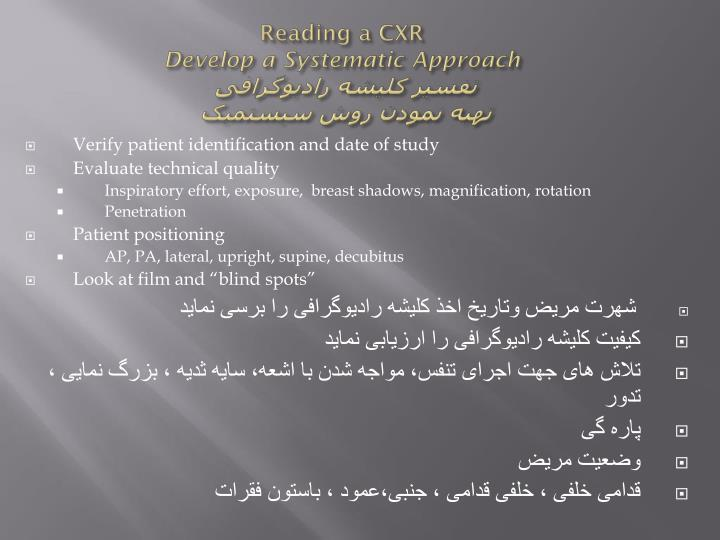 Reading a CXR
