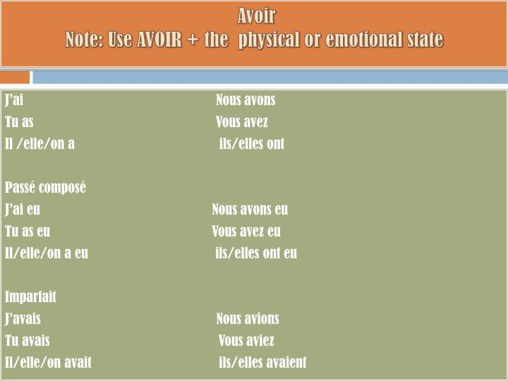 Avoir note use avoir the physical or emotional state