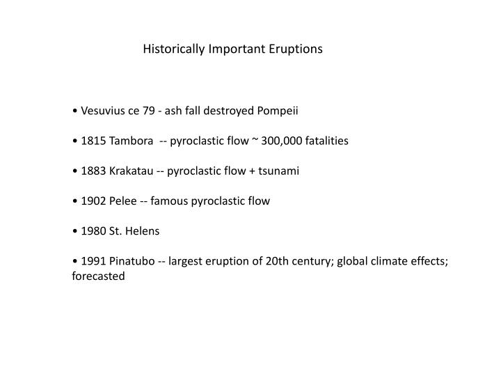 Historically Important Eruptions
