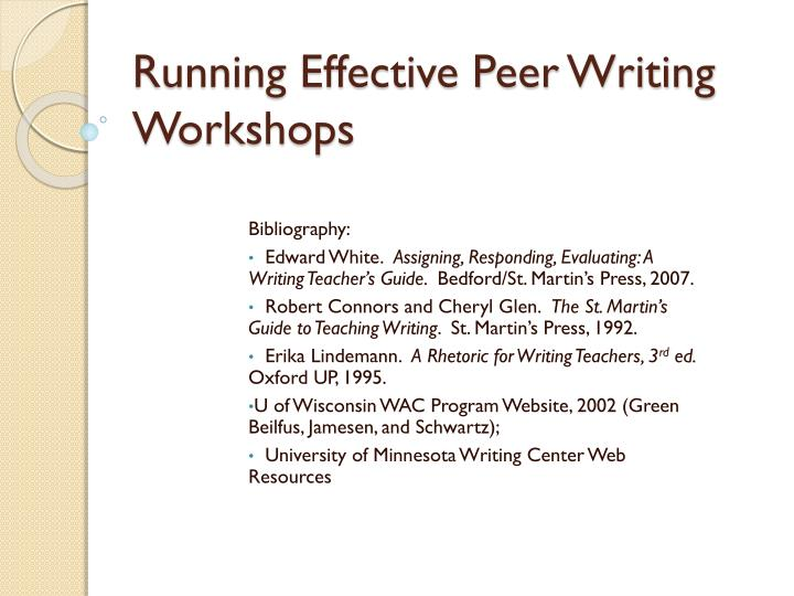 running effective peer writing workshops n.
