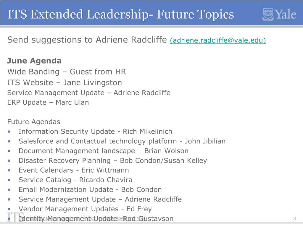 PPT - ITS Extended Leadership Agenda May 31, 2012 PowerPoint