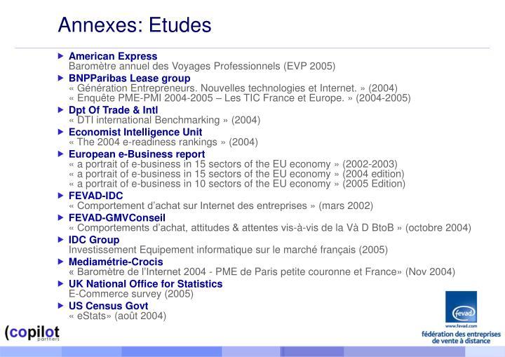 Annexes: Etudes