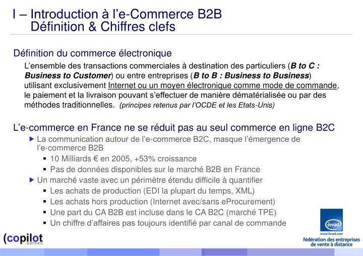 I – Introduction à l'e-Commerce B2B