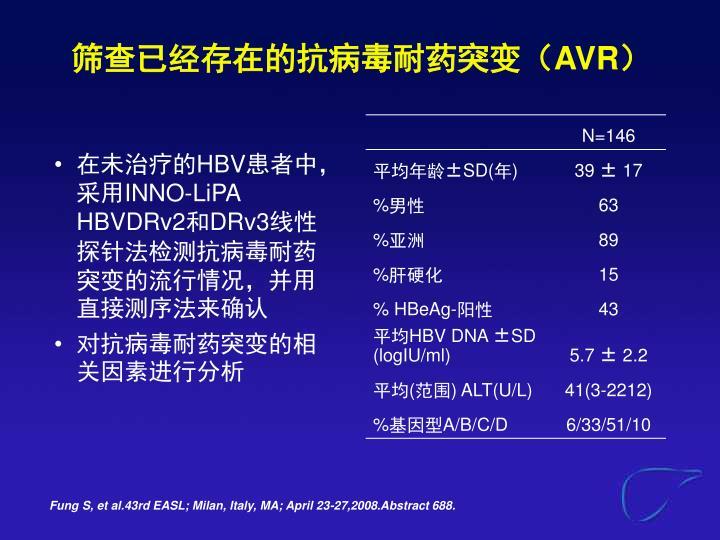 筛查已经存在的抗病毒耐药突变(