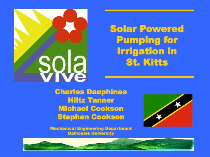 solar powered pumping for irrigation in st kitts n.