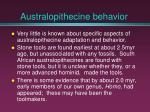 australopithecine behavior