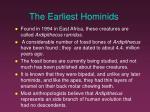 the earliest hominids
