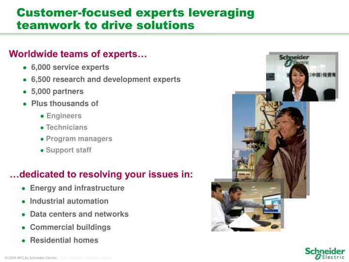 Customer focused experts leveraging teamwork to drive solutions