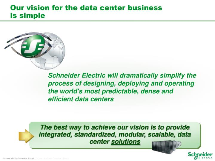 The best way to achieve our vision is to provide integrated, standardized, modular, scalable, data center