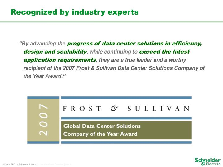 Recognized by industry experts