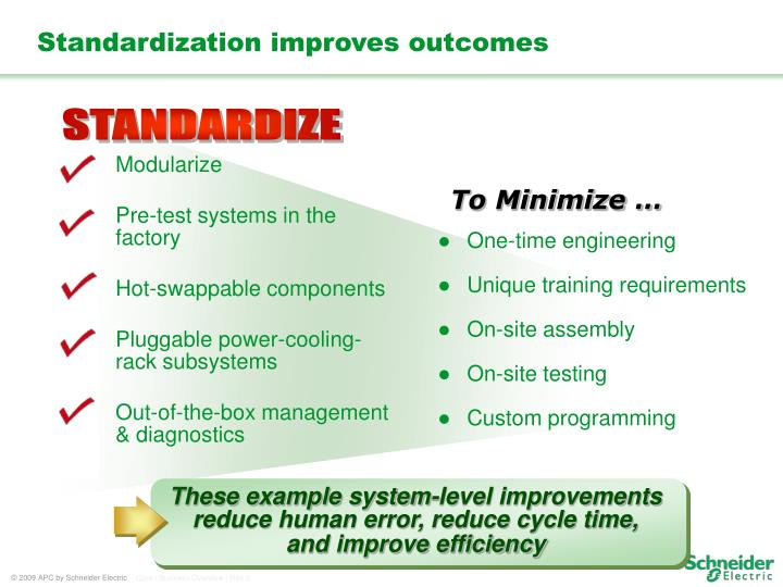 These example system-level improvements reduce human error, reduce cycle time,