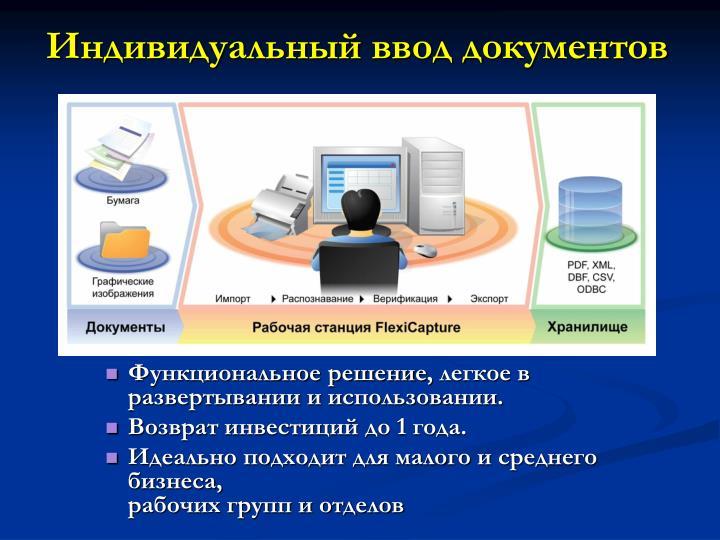 Индивидуальный ввод документов