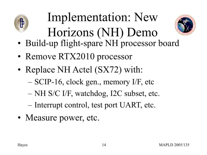 Implementation: New Horizons (NH) Demo