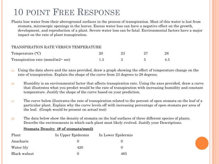 10 point Free Response