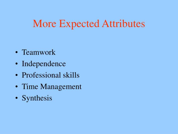 More Expected Attributes