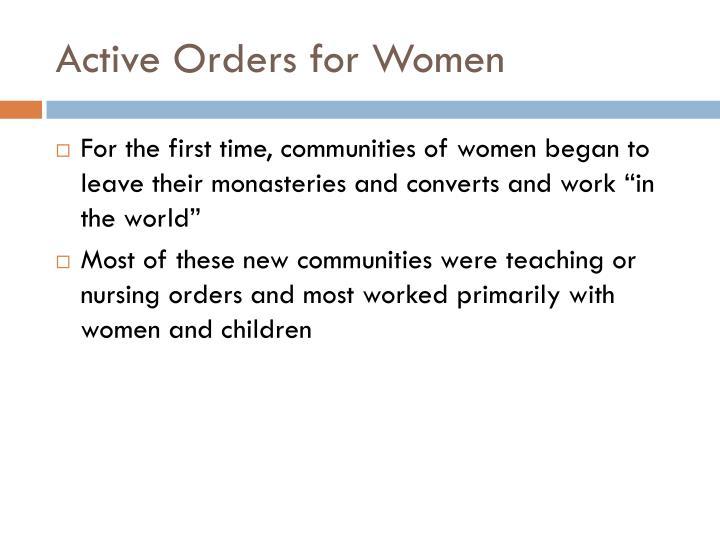 Active Orders for Women