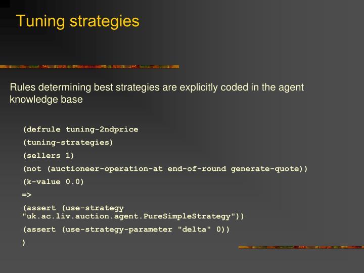 Tuning strategies