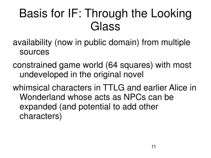 Basis for IF: Through the Looking Glass