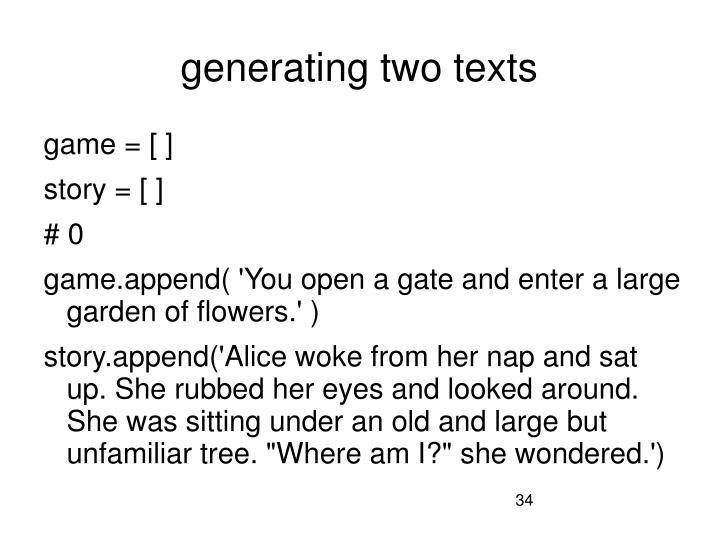 generating two texts