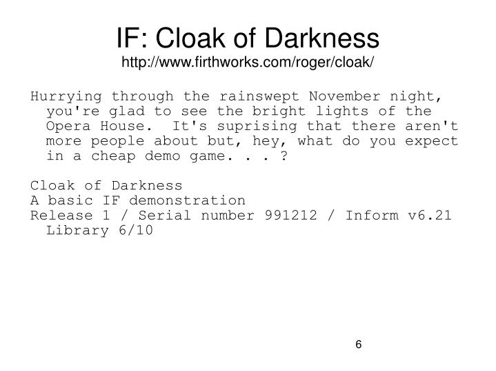 IF: Cloak of Darkness