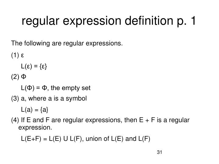 regular expression definition p. 1