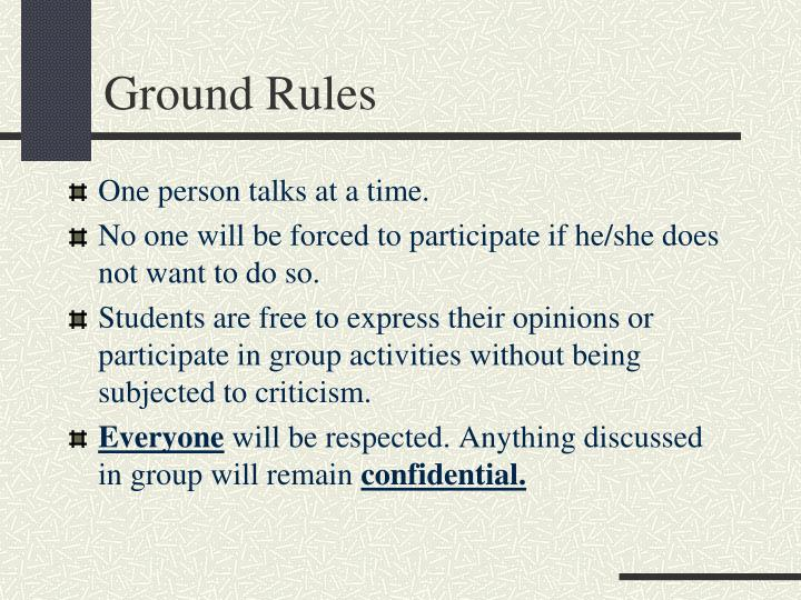 ground rules n.