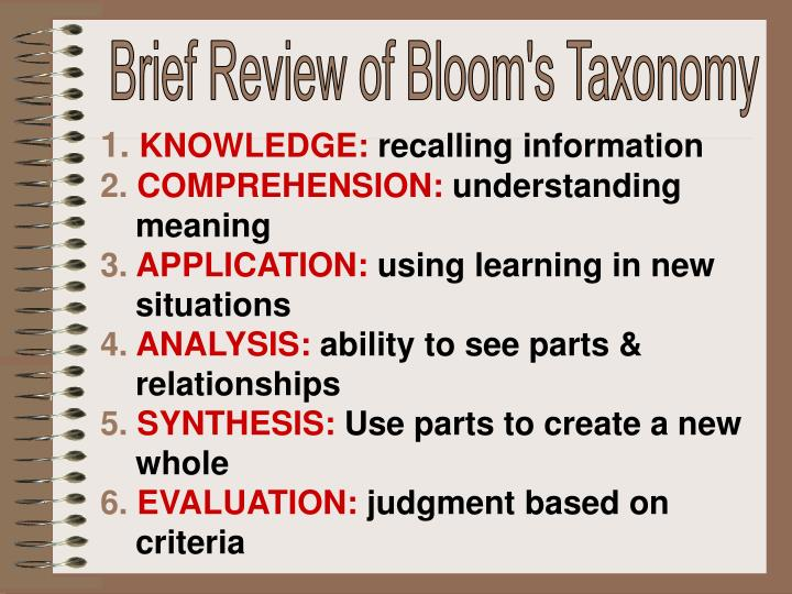 Brief Review of Bloom's Taxonomy