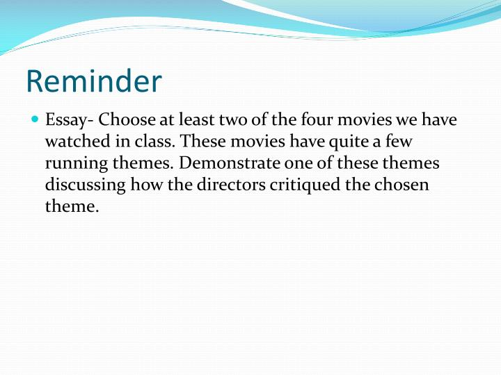 ppt the truman show powerpoint presentation id  essay choose at least two of the four movies we have watched in class these movies have quite a few running themes demonstrate one of these themes