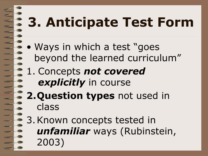 3. Anticipate Test Form