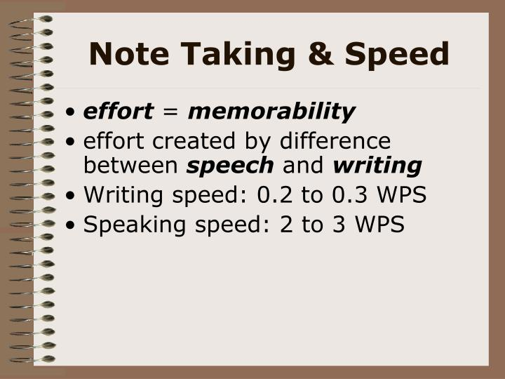 Note Taking & Speed
