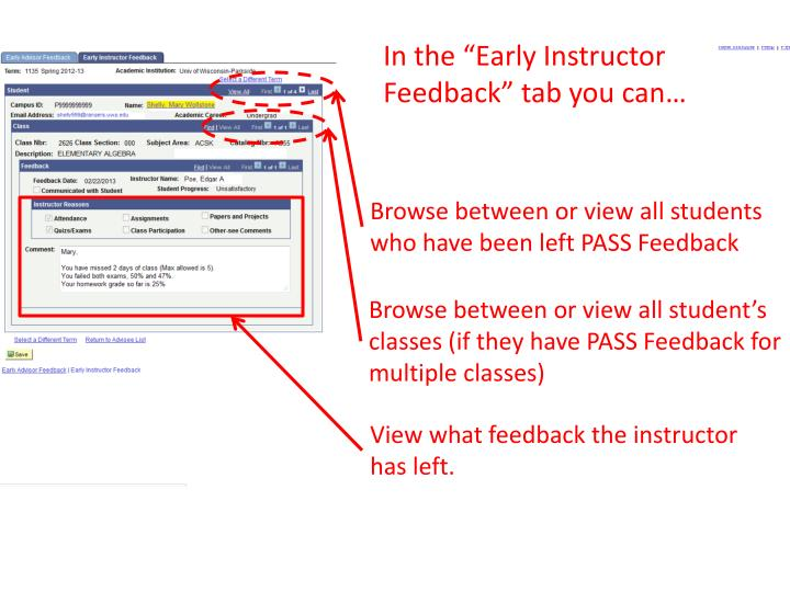 "In the ""Early Instructor Feedback"" tab you can…"