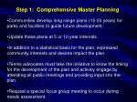 step 1 comprehensive master planning