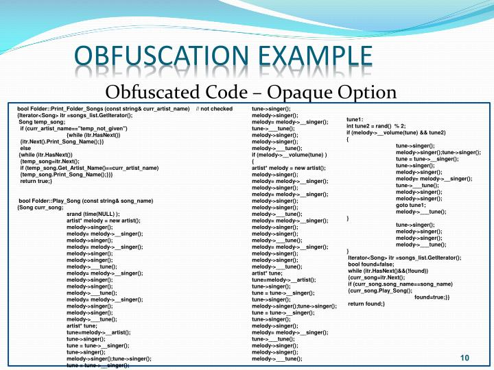 Obfuscation example