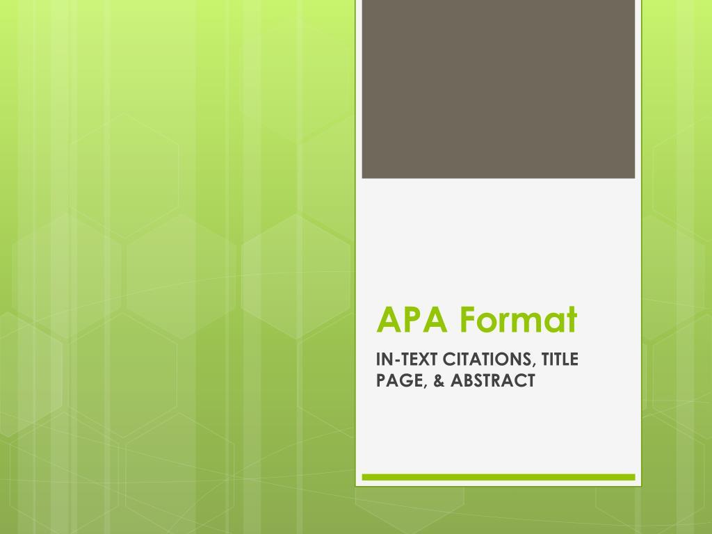 apa format for presentation www