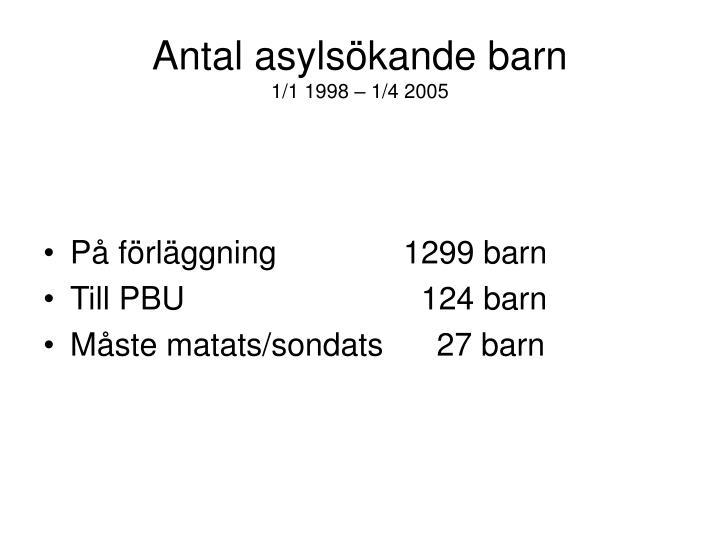 Antal asyls kande barn 1 1 1998 1 4 2005