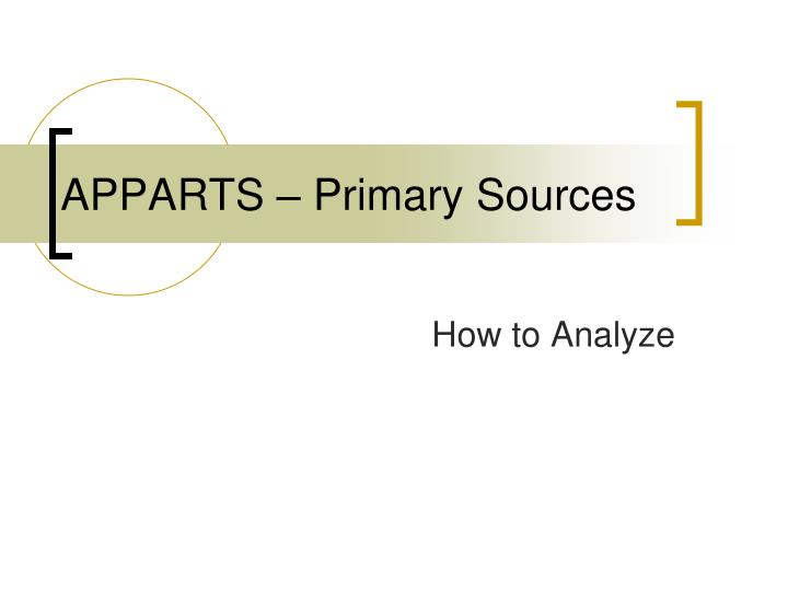 APPARTS U2013 Primary Sources