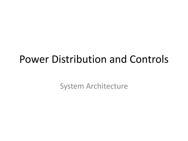 power distribution and controls n.