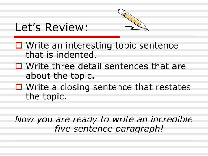 interesting topic sentences