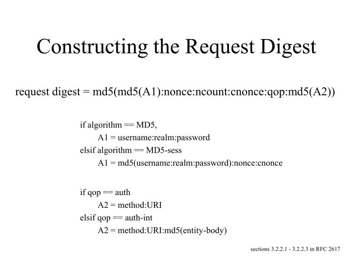 Constructing the Request Digest