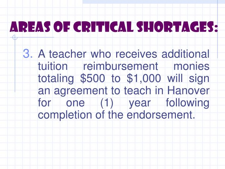 Areas of critical shortages: