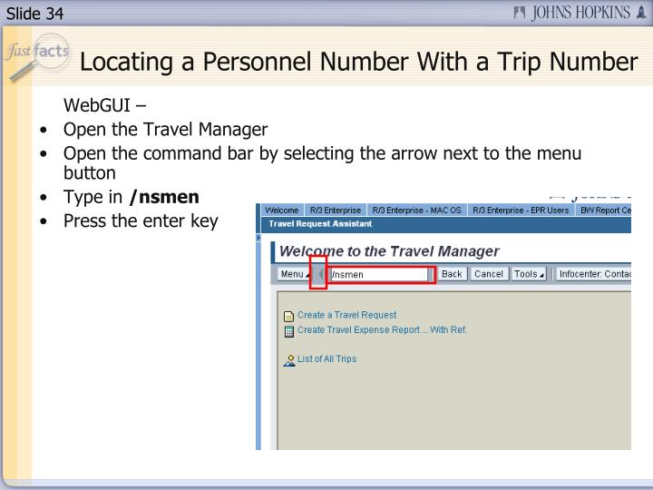 Locating a Personnel Number With a Trip Number