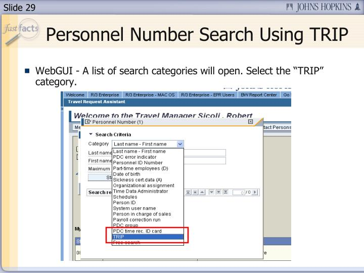 Personnel Number Search Using TRIP