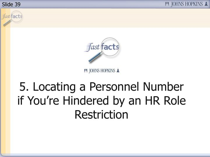 5. Locating a Personnel Number if You're Hindered by an HR Role Restriction