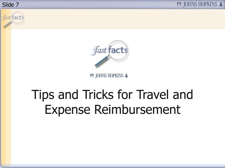 Tips and Tricks for Travel and Expense Reimbursement