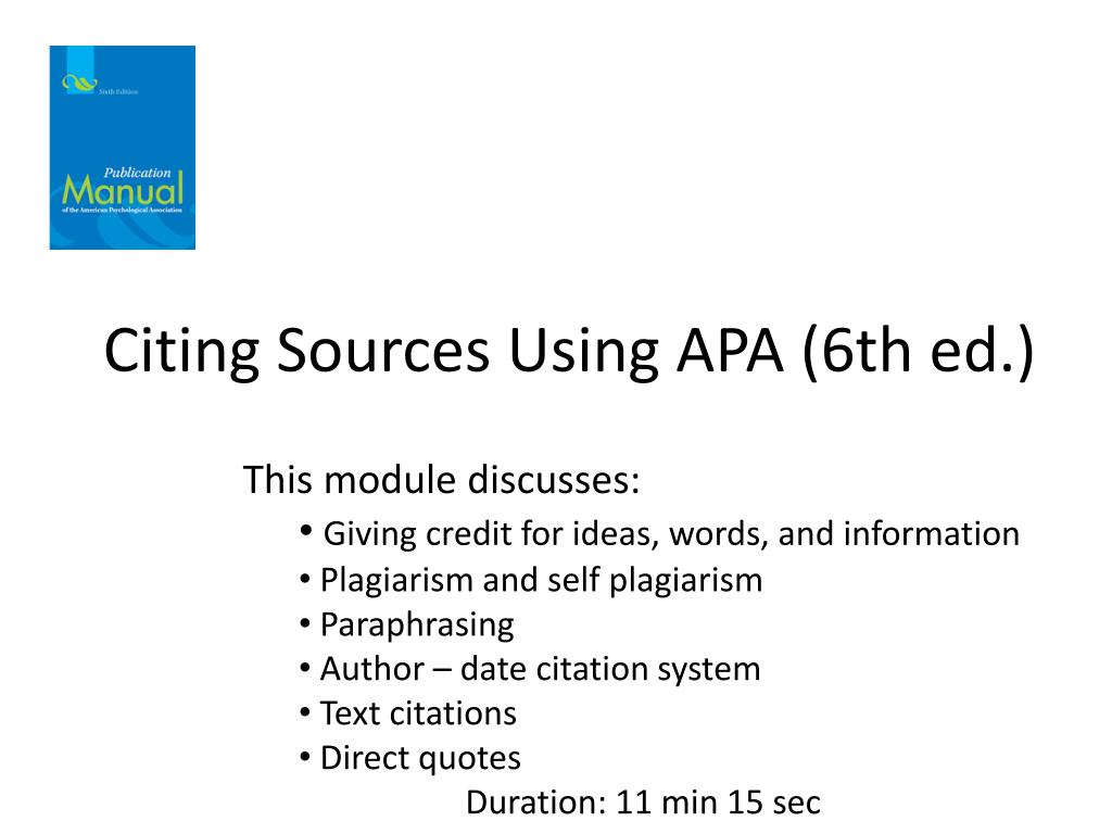 ppt citing sources using apa 6th ed powerpoint presentation