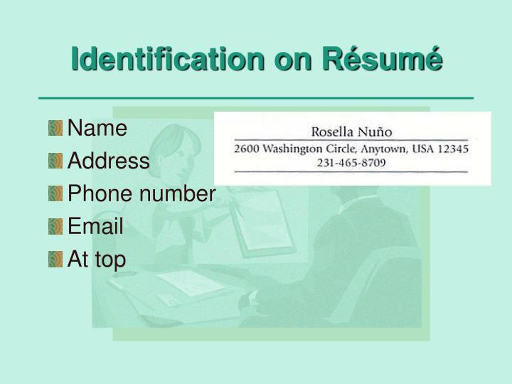 Identification on Résumé