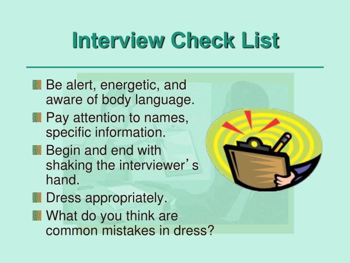 Interview Check List