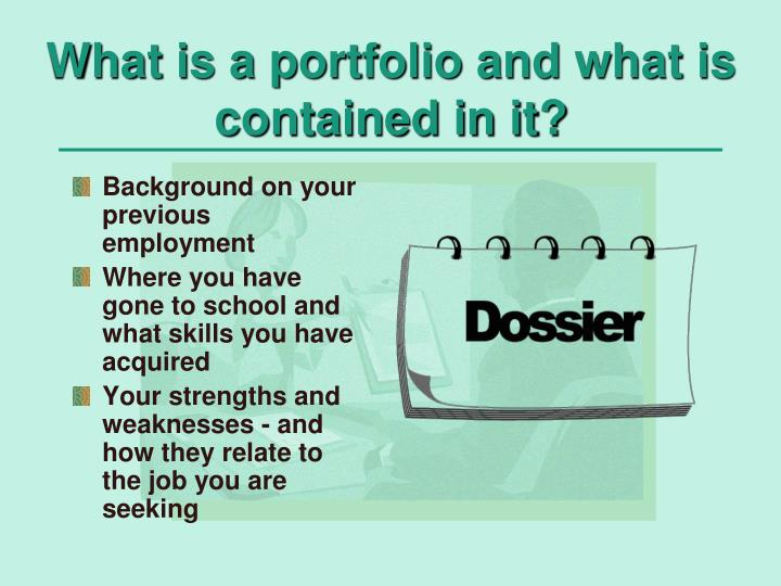 What is a portfolio and what is contained in it