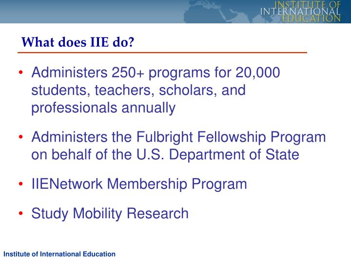 What does IIE do?