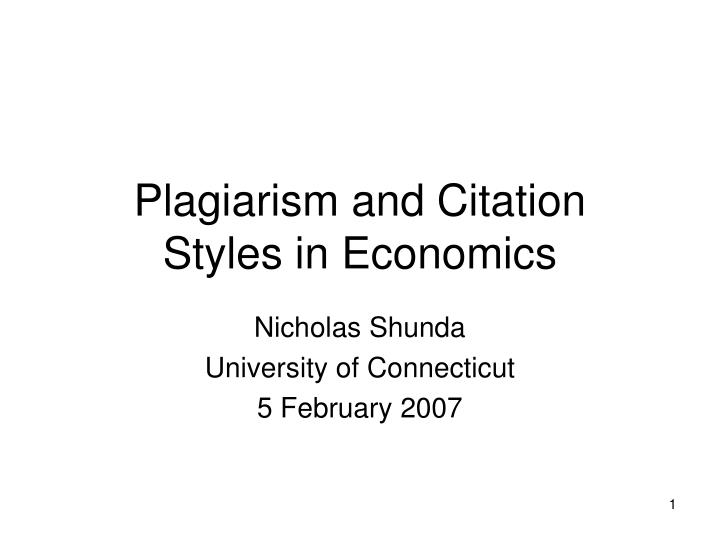 plagiarism and citation styles in economics n.